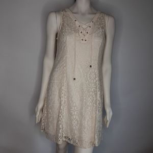 I N San Francisco lace lined tie up front sz L